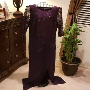 Alex Evenings Purple Sequined Evening Gown